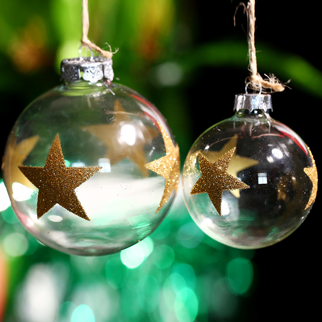 christmas glass ball ornament wedding bauble gold stars party event decoration spring winter indoor