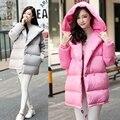 Invierno de las mujeres loose fit capa de la manera linda con capucha parkas abrigo chaqueta medio ocasional más tamaño abrigo pato abajo escudo snowear