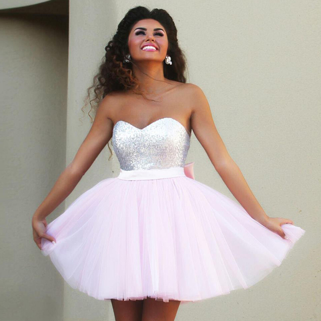 ee0a50be44a 2016 New Pink Short Prom Dresses Sweetheart Top Sequins Tulle Light Pink  Cocktail Dresses Back Bow