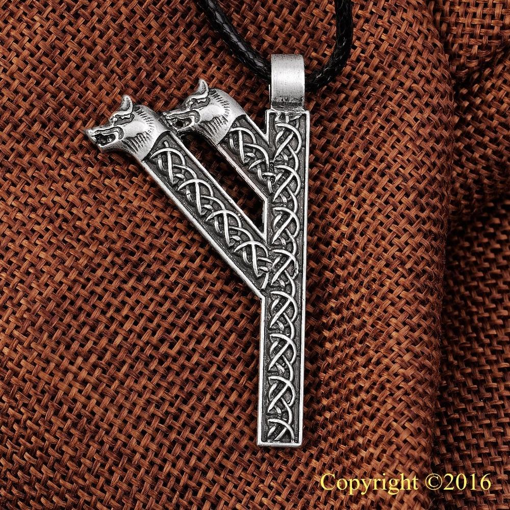 گردنبند آویز LANGHONG بزرگتر Futhark Rune آویز Fehu Feoh Fe Rune Yggdrasil Viking Amulet Runic گردنبند آویز گردنبند آویز