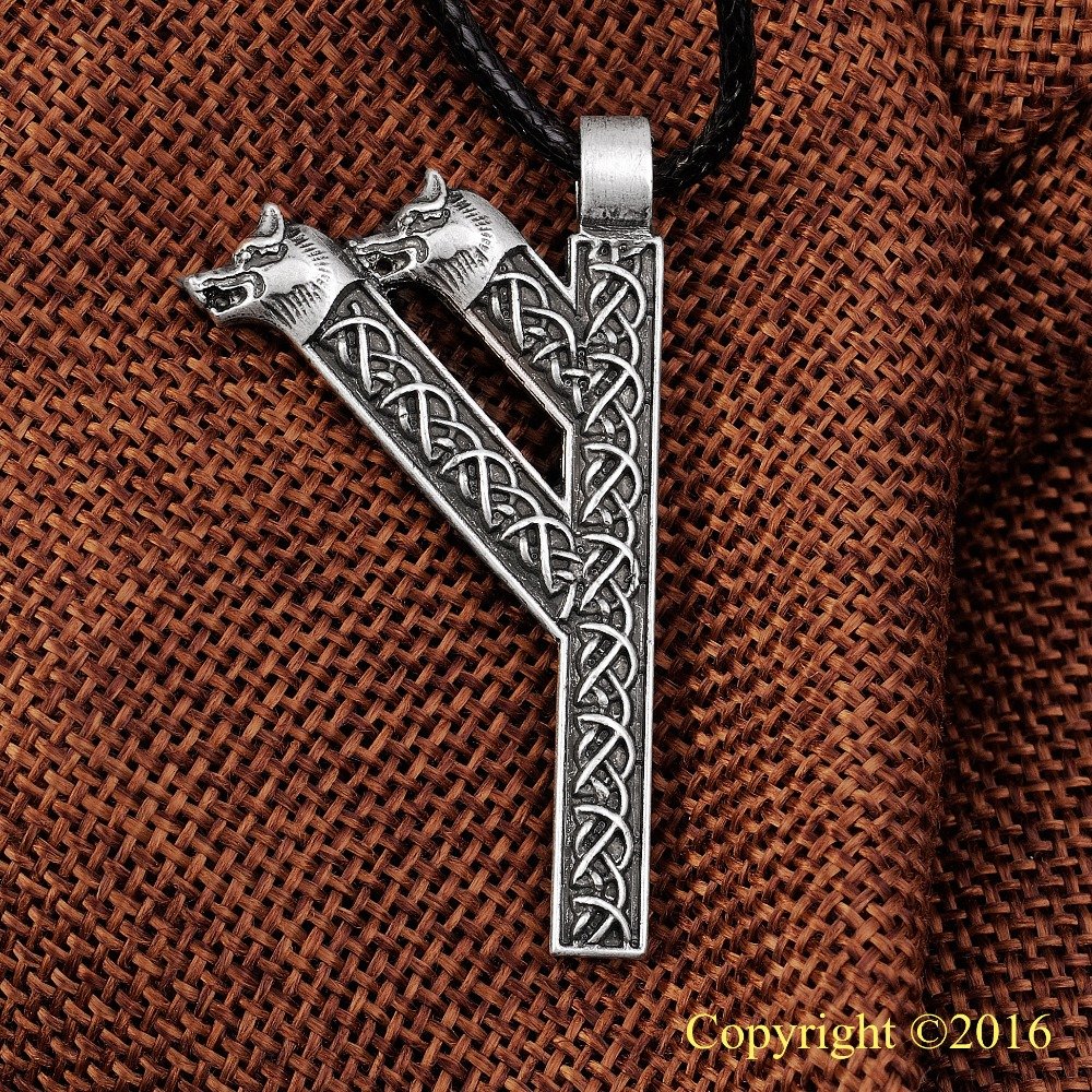 LANGHONG Elder Futhark Rune medál nyaklánc Fehu Feoh Fe Rune Yggdrasil Viking Amulet Runic Északi medál Talisman nyaklánc