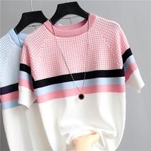 shintimes Plaid T Shirt Women Striped Tshirt Knitted Cotton 2019 Korean T-Shirt Woman Clothes Tee Femme Camisetas Mujer