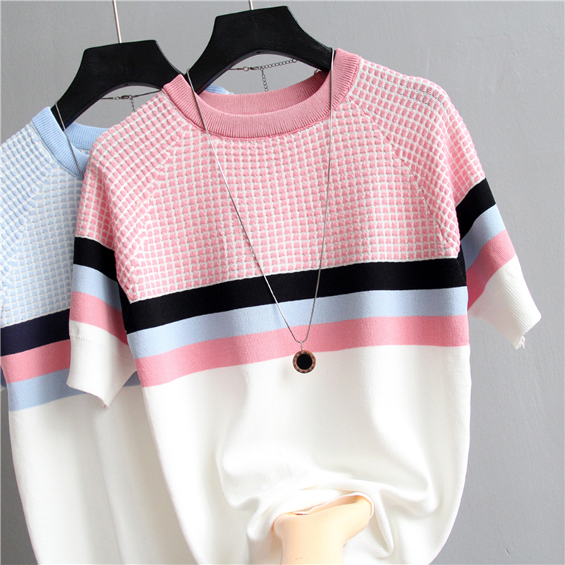 Shintimes Plaid T Shirt Women Striped Tshirt Knitted Cotton 2020 Korean T-Shirt Woman Clothes Tee Shirt Femme Camisetas Mujer