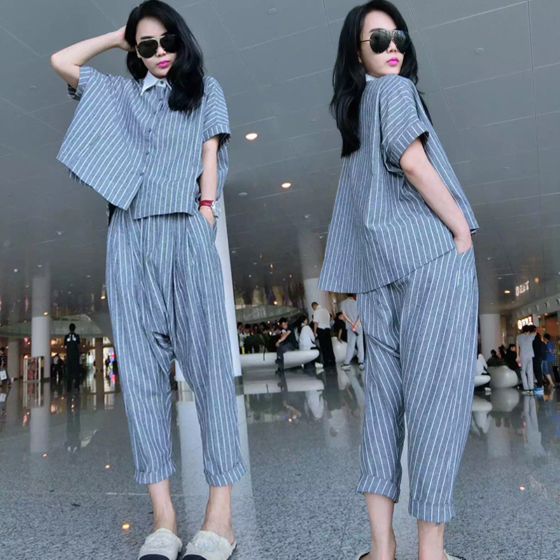 new European and American casual cotton shirt Europe station harem pants fat MM big yards fashion suit female tide