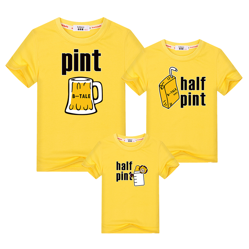 Funny beer milk drink family matching clothes father mother kids family look t-shirt dad mom children tops summer print outfits