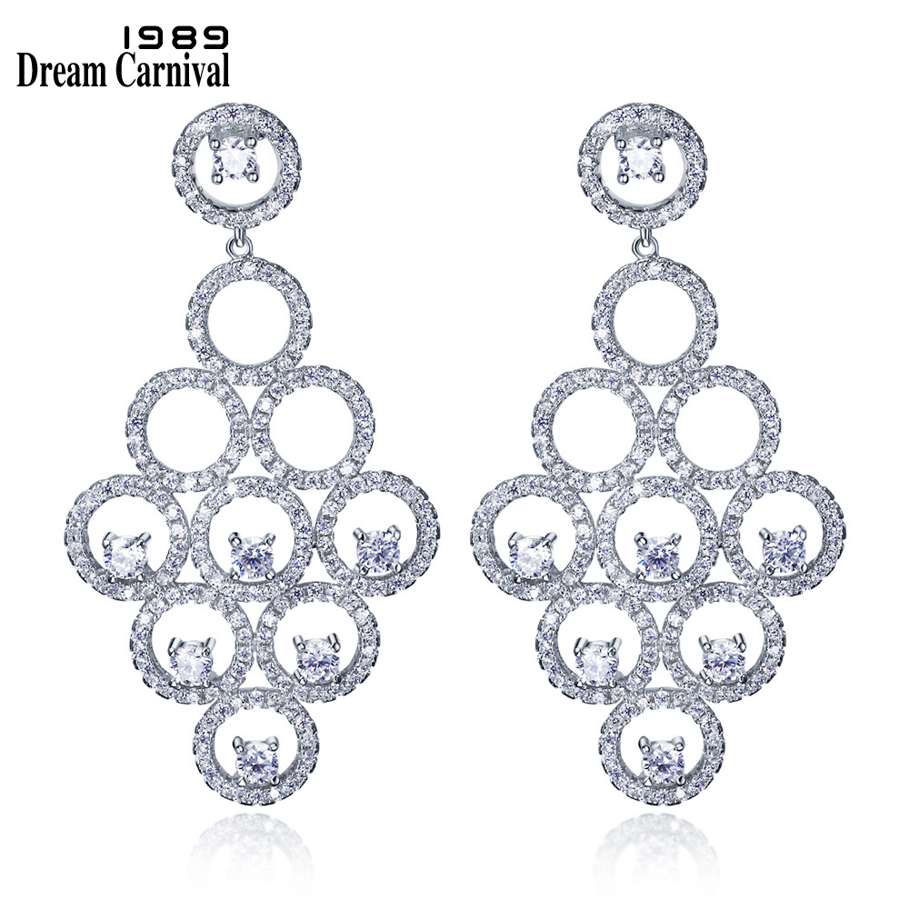 DreamCarnival 1989 Luxury New Design Circle Pieces Unique Style Cubic Zirconia Party Jewelry Dangles Statement Earring SE11675