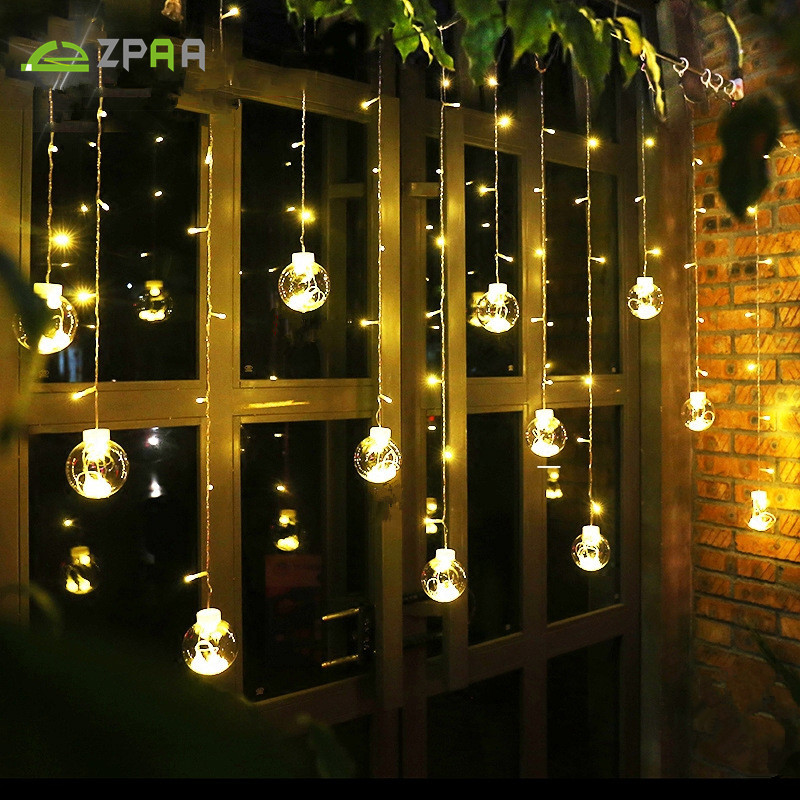 Outdoor String Lights Hardware: ZPAA 3M 138LED Ball Globe String Lights Curtain String