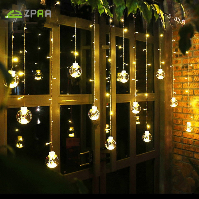ZPAA 3M 138LED Ball Globe String Lights Curtain String Fairy Light Backyard Patio  Lights Decorative Outdoor