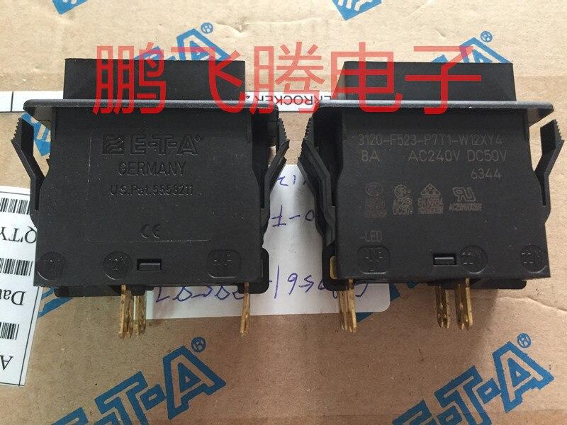 Originele nieuwe 100% 3120 F523 P7T1 W12XY4 8A hoge stroom tuimelschakelaar met LED 4pin 2 gear