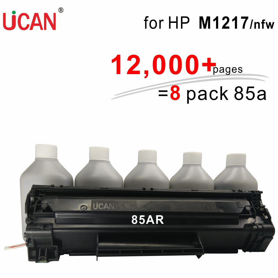 UCAN CTSC(kit) 85a for Hp Laserjet Pro M1217 M1217nfw MFP printer 12,000pages Equal to 8-Pack ordinary CE285a Toner Cartridges for hp 283 cf283a toner powder and chip for hp laserjet pro mfp m125 m127fn m127fw laser printer free shipping hot sale