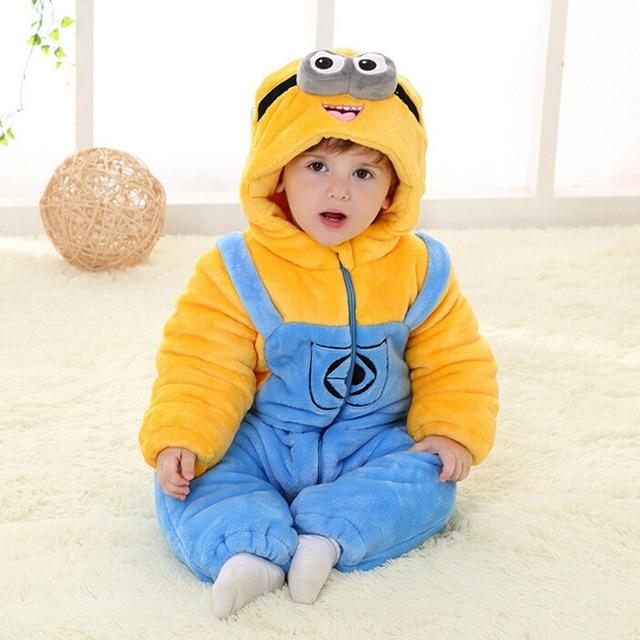 bfdbd92dc Baby Boy Minions Romper Newborn Baby Clothes Autumn Winter Thick ...