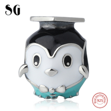 Animal Enamel Charms Bead cute Penguin Doctorial Hat Charms 925 Silver Beads Fit Authentic pandora Bracelet Fashion Jewelry hand diffuser hair dryer wind blower dryer diffuser curl hairdressing tool salon hairstyer accessory for curly hair