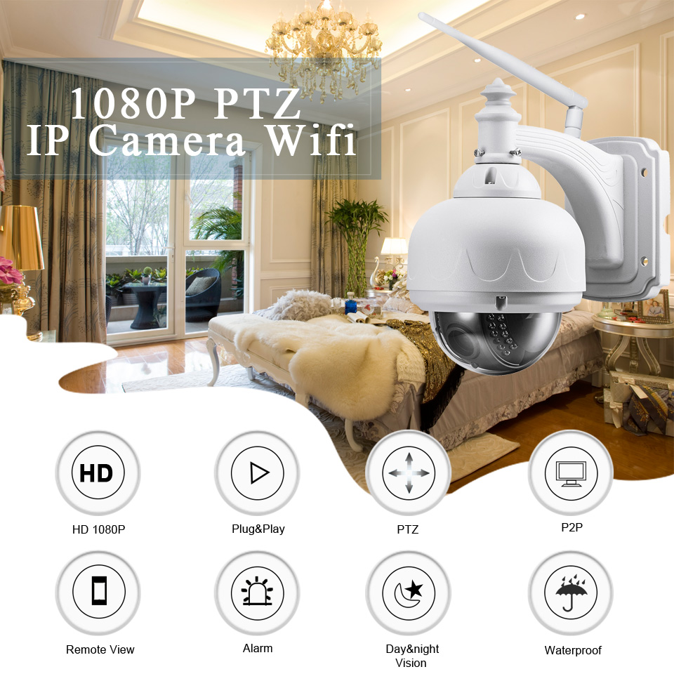 BESDER 1080P 960P Wireless Speed PTZ Wifi Camera Auto Zoom 5X 2.7-13.5mm ONVIF P2P Outdoor Waterproof IP Camera PTZ SD Card Slot