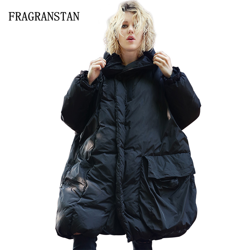 2019 Winter Women Cloak Type Black Down Jacket Plus Size Parka Street Hoodies Zipper Overcoat Thick
