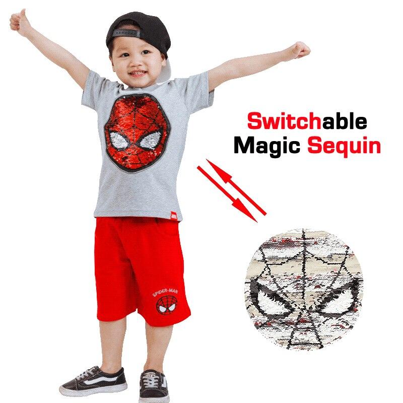 Summer spiderman batman super hero magic switchable sequin boys tee shirt kid new fashion t shirt children tops clothes 80-130cm