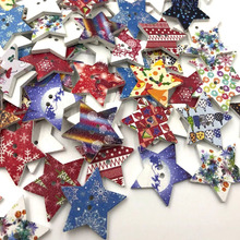 10/50/100 шт микс Рождественская звезда деревянные пуговицы подходят для шитья, скрапбукинга украшения W465