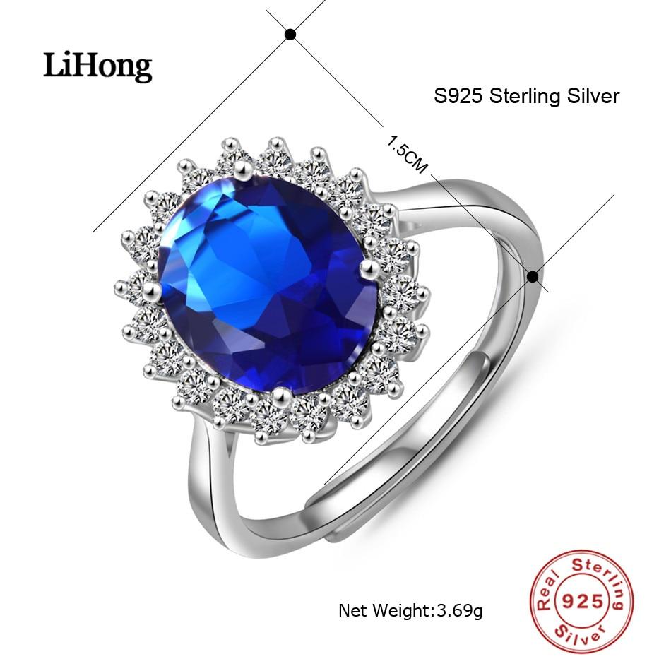 Anillos de bodas azul de piedras preciosas 925 Sterling Silver Clear - Joyas - foto 2
