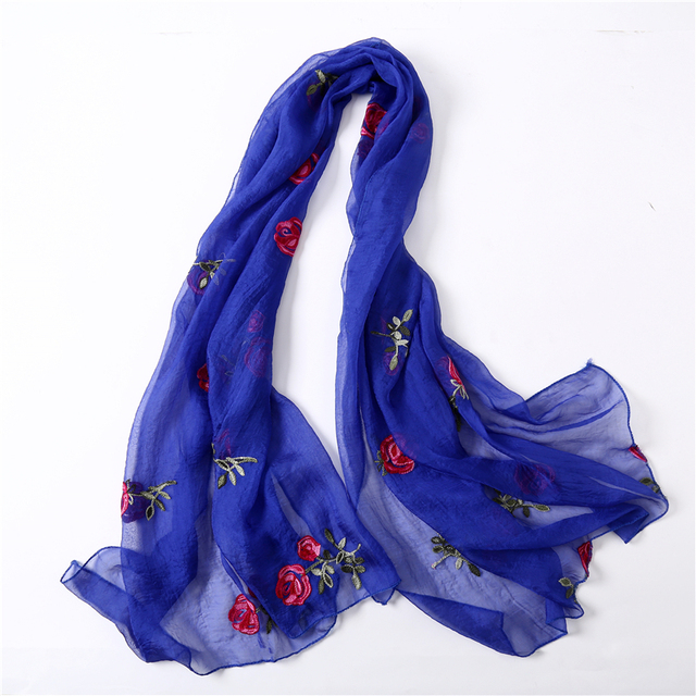 6f305e4d5 2018 spring summer women scarf Embroidery silk scarves soft floral shawls  and wraps lady pashmina beach stoles
