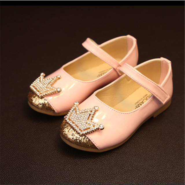 New 2016 Spring Kids Shoes Rhinestone Imperial crown Princess Leather Shoes Soft Girls Flats #2984