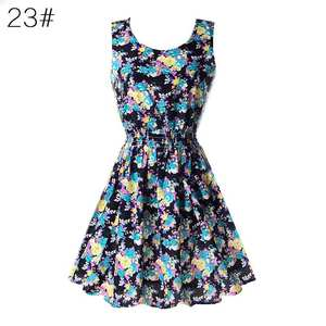 Beach-Dress Chiffon Floral Sexy Fashion Women Sleeveless Summer Tank 20-Colors