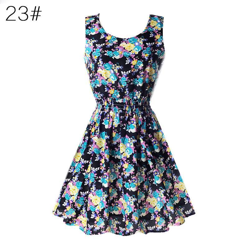 Fashion Women Sexy Chiffon Beach Dress Sleeveless Summer Sundress Floral Tank Dresses 20 Colors Innrech Market.com