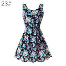 Fashion Women Sexy Chiffon Beach Dress Sleeveless Summer Sundress Floral Tank Dresses 20 Colors women summer dress floral sleeveless chiffon tank dress l08