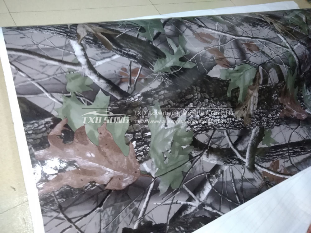 1.52MX5M/10M/15M/20M/30M/Lot Real Tree Camouflage vinyl film Digital printing Tree Camo Car sticker with air free bubbles - 3