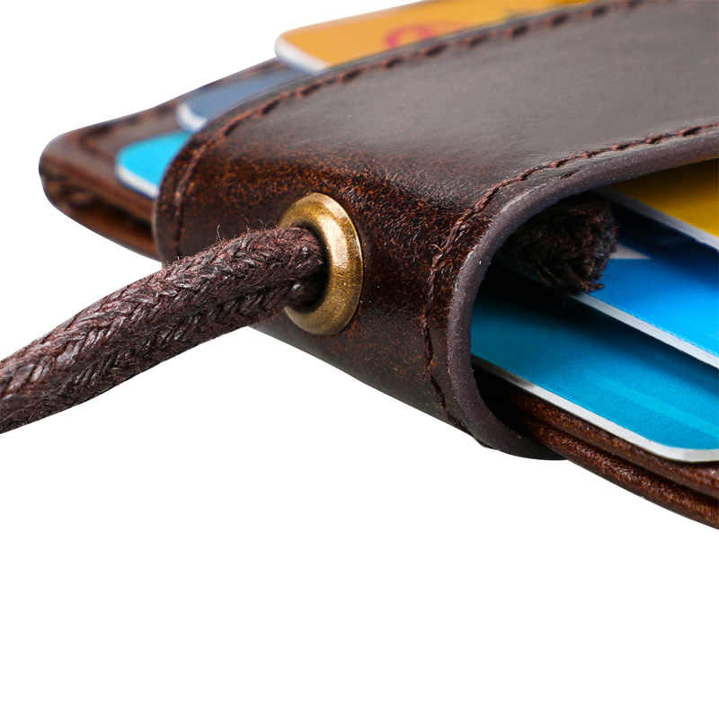 Genuine Leather ผู้ถือ Lanyard RFID Blocking Card สำหรับ Chest Card Hangtag ทำงาน Pass นักเรียนผู้ถือ