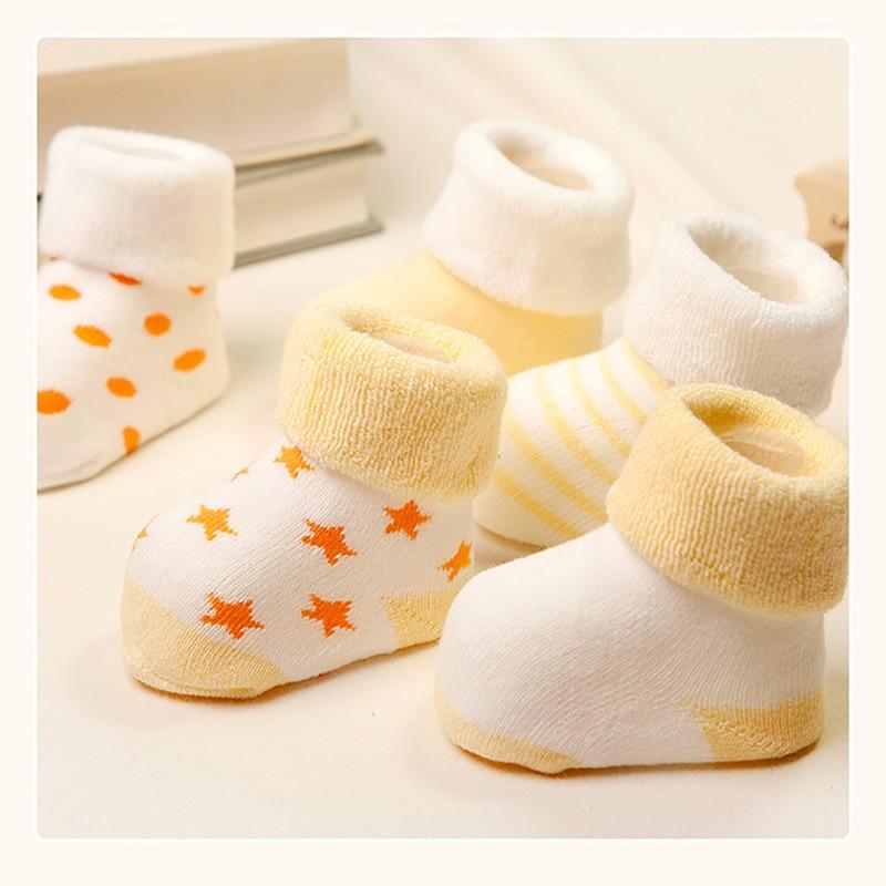 Купить с кэшбэком 5 Pairs Baby Socks Newborns Winter Cotton Thickening  Unisex Short Socks 0-6 Months Infant Girl And Boy Socks