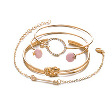 купить 4 Pcs/ Set Classic Chain Arrow Knot Round Crystal Gem Multilayer Adjustable Open Bracelet Set Women Fashion Party Jewelry Gift по цене 98.33 рублей