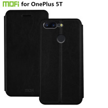 Original Mofi PU Leather Case for OnePlus 5T Cover 6.01 inch Phone Cases Coque Funda Capa Stand Flip Cover for OnePlus 5T Case