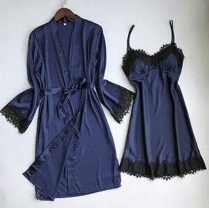 Image 4 - Women Sexy Lace Silk Like Robe & Gown Set Sleep Dress+Bathrobe Two Piece 3 Color Robe Bridesmaid Wedding Sleepwear Pijama Mujer