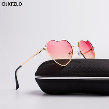 DJXFZLO Fashion Heart Shaped Sunglasses Women Brand Designer Lady Metal Reflective Ties Mens UV400
