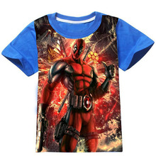 Cartoon Deadpool 3D Print Cotton Children Boys T font b Shirts b font Tops Spider Man