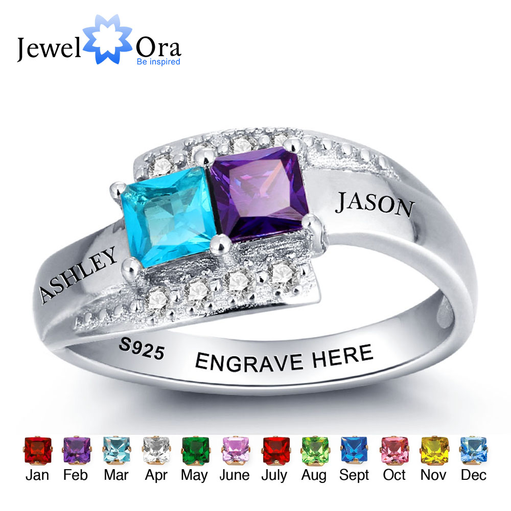 Personalized Jewelry For Couples Engrave Names Birthstone Ring Party Accessories 925 Sterling Silver Ring JewelOra RI101966