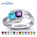 Personalized Jewelry For Couples Engrave Names Birthstone Ring Party Accessories  925 Sterling Silver Ring (JewelOra RI101966)