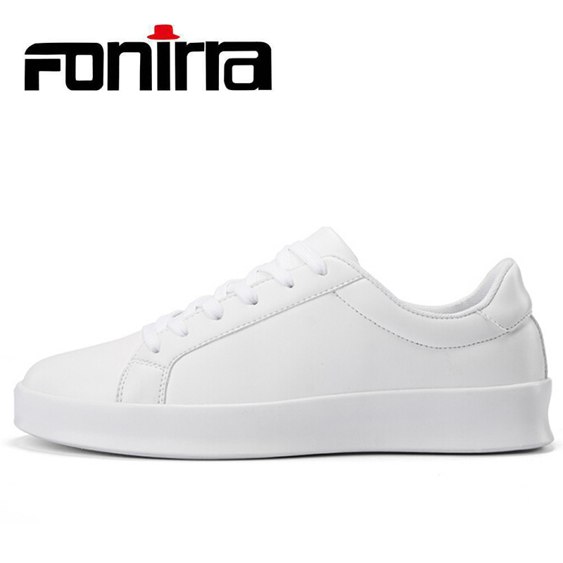 FONIRRA Men Casual Shoes PU Leather Lace Up Men's Flats Loafers Shoes for Male White Black Footwear 2017 Fashion Men Shoes 401 new 2017 high quality men pu leather flats lace up fashion casual sport jogging flat shoes loafers soft light male footwear