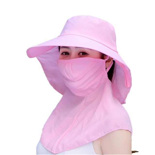 6a99e7de783 2018 cotton Sun Hats for women summer sun visor hat with big heads wide  brim beach hat omnibearing UV protection female caps