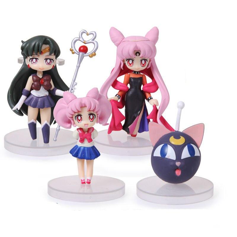 Hot Cute Anime Sailor Moon Figuren Usagi Tsukino Mars Merkur Jupiter Venus Saturn PVC Figur Spielzeug 16 Teile Satz In