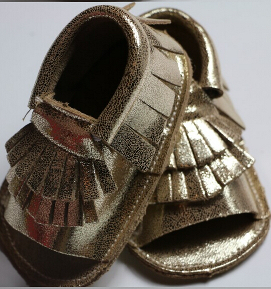 Новый летний металлическое золото ручной Подлинной Кожи Коровы Детские Мокасины Мягкой подошвой детские первые ходунки Обувь мальчиков Обувь