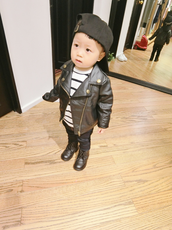Wind PU Leather Leather Coat Baby Boys and Girls Short Children Jacket 27