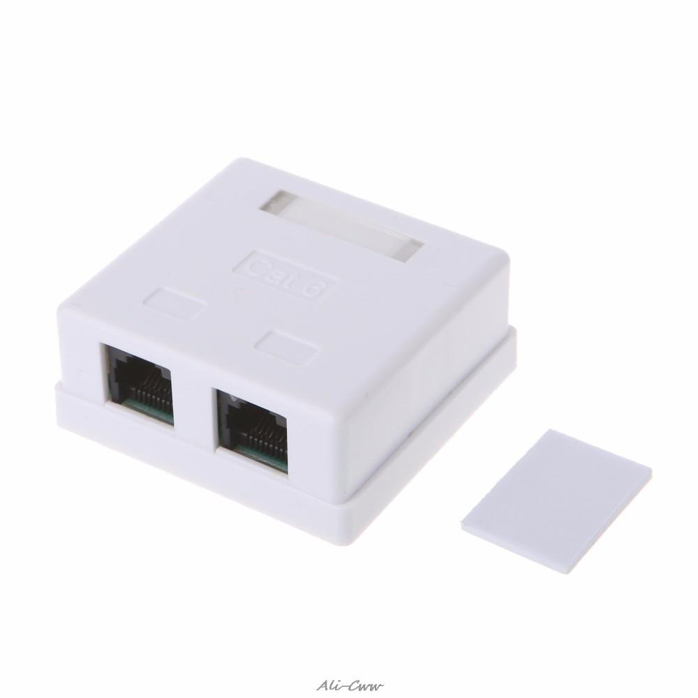 RJ45 Junction Box CAT6 Cat6e 8P8C Network Connector 2-port Female-female Desktop Extension Cable Box