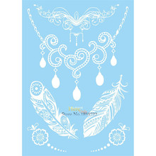 Sexy Body Art Decals White Necklace Tattoo Pendant Lace Feather Jewel Design Waterproof Henna Temporary Tattoo Sticker HM-LS1016