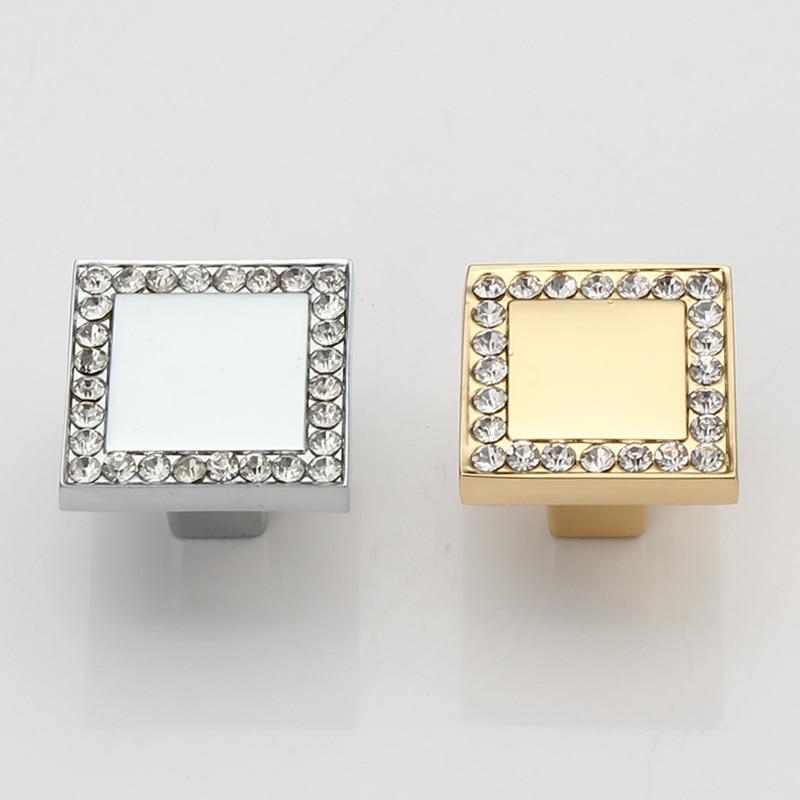 crystal diamond furniture decoration knob Gold Silver Zinc alloy kitchen cabinet handle drawer dresser cupboard knob pull 25mm