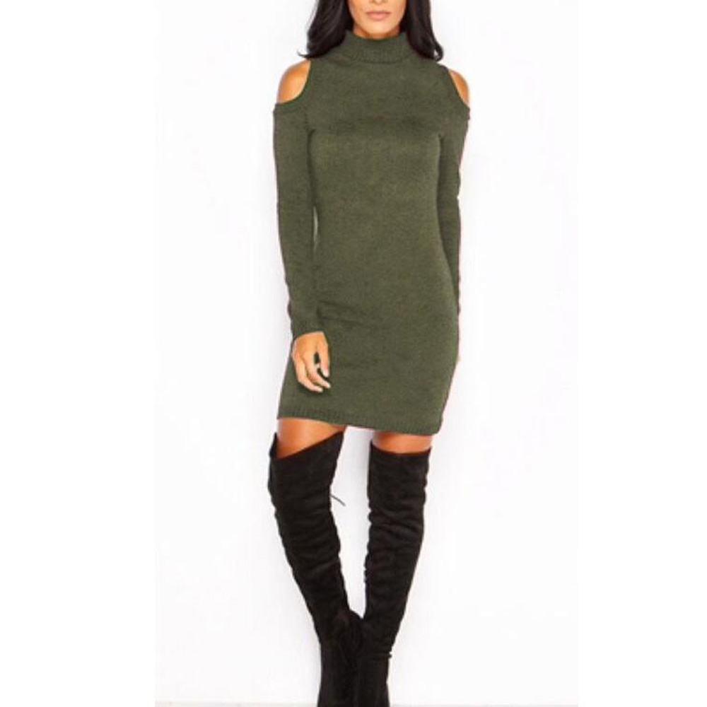 New Sexy Off Shoulder Women Winter Sweater Dress Stretchy Long ...