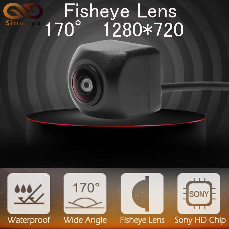 Sinairyu Rear Front Side View Camera SONY MCCD Fish Eyes Night Vision Waterproof IP68 Reversing Back Up Camera Universal