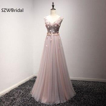 New Arrival vestidos de festa V Neck Formal dress 2020 Contrast Color Sexy Evening dresses Long Plus size Beaded Flower gowns