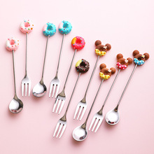 4PCs Japan-style Cartoon Donut Coffee Spoon Fork Creative Fruit Ice Cream Dessert Tea Honey Cappuccino Stirring Scoop Tableware