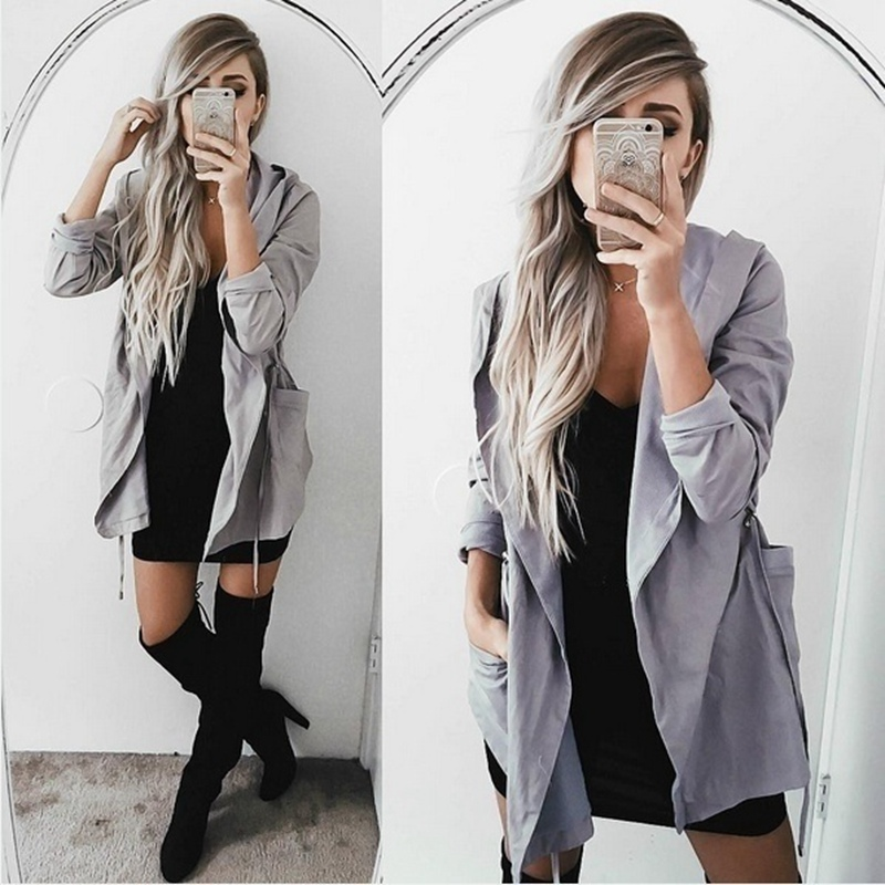 MoneRffi 2019 Spring Women   Trench   Fashion Women Top Thin   Trench   Casual Femme Ladies Coats Solid Belt Up OL Outwear Plus Size 5XL