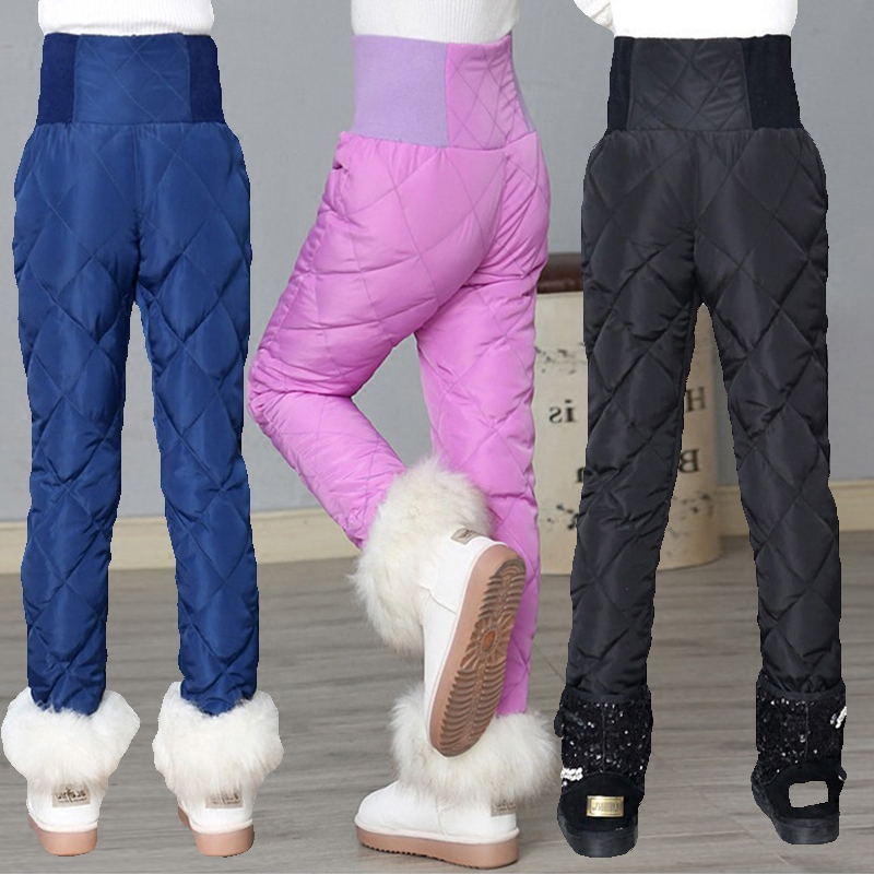 New Arrival Winter Warm Pants For Girls High Quality White Duck Down Trousers Children High Waist Solid Leggings 4 Colors 2-14Y
